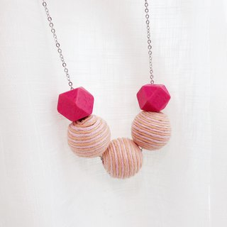 Pink  Wooden Beans Necklace Birthday Gift Wedding BFF