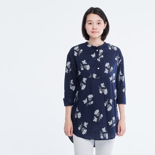 Ivy Henley Cotton Print Long Sleeves Blouse