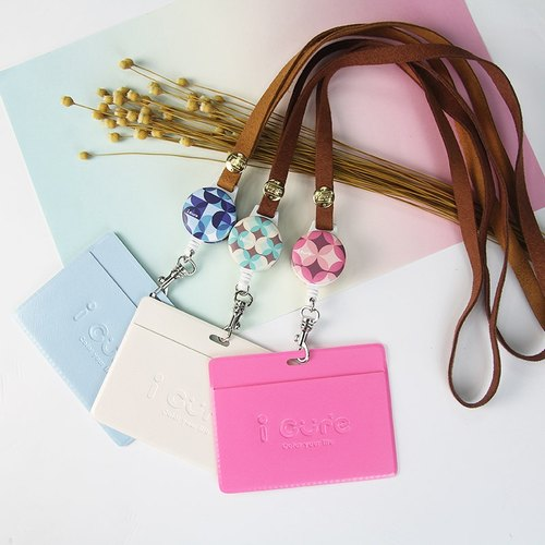Flower Series - Pink & Green & Blue (three) i Good Day - retractable telescopic pull ring buckle badge sets of documents folder documents folder ticket travel card suede