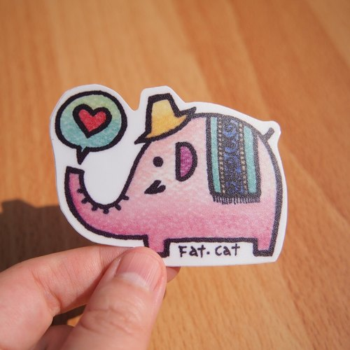Waterproof stickers - elephant (pink)