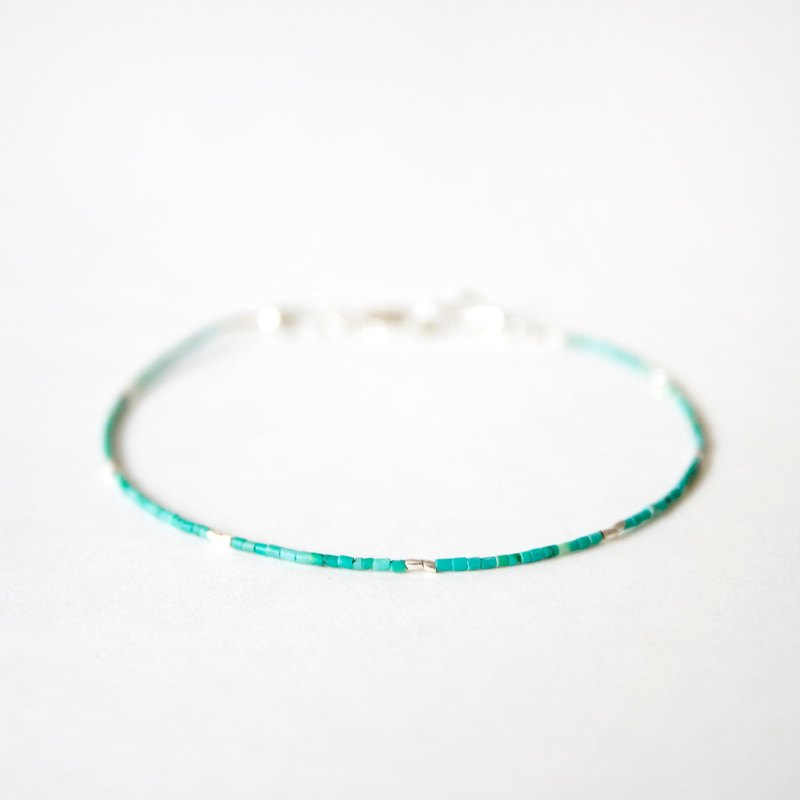 Simple light green fine turquoise with 925 silver bracelet // December birthday stone