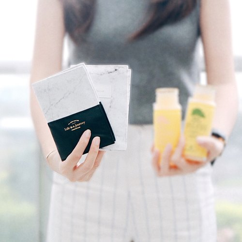 Personalized Passport Cover / leather / white marble passport holder / Destination wedding gift