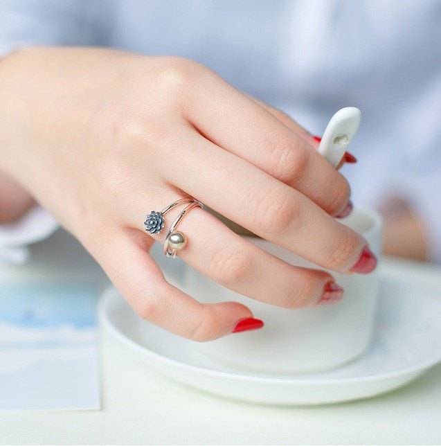 【Spot】 S925 sterling silver chain flower ring
