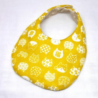 Japanese Handmade 4-layer-double gauze Baby Bib / Lucky cat yellow