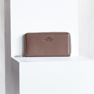 LUCKY-WOMEN MINIMAL LONG SOFT COW LEATHER WALLET-TAUPE/BROWN