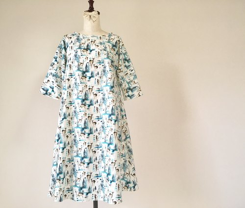 Forest and Deer * Cotton Flare One Piece * White Blue