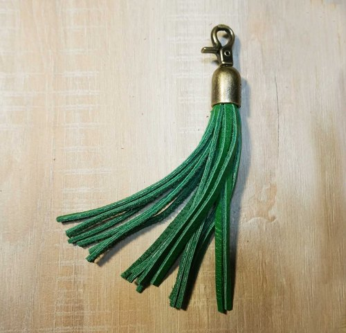 Sienna leather tassel pendant key ring
