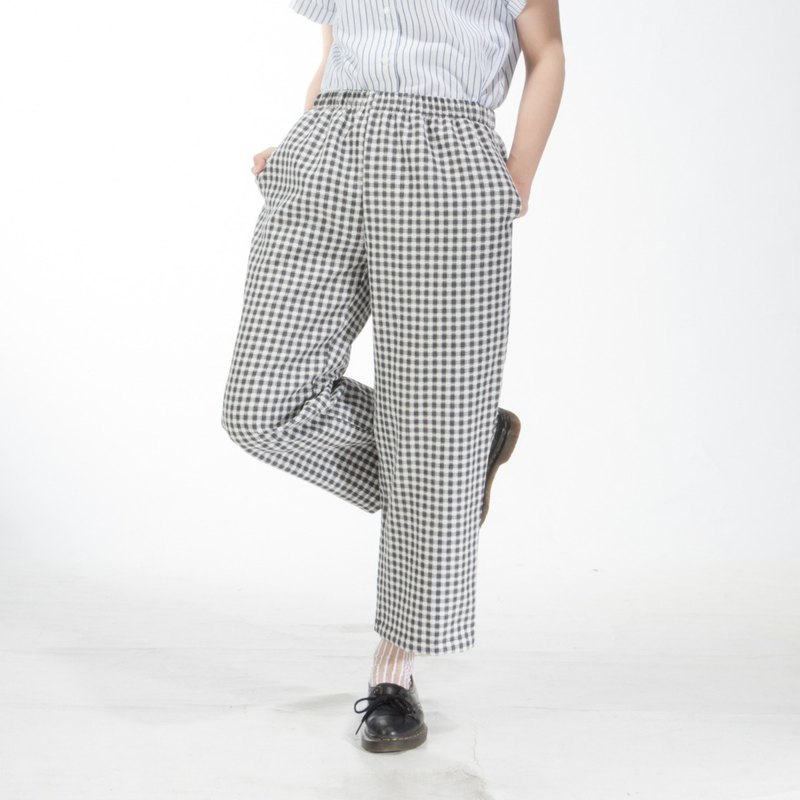 Seaweed plaid elastic wide pants