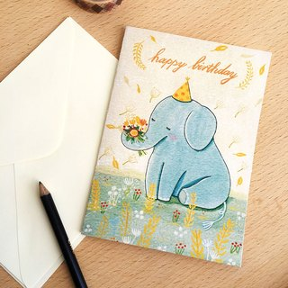 birthday card-Blue Elephant-with envelope