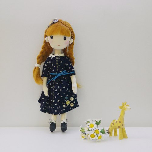 Handmade Doll in Navy Dress