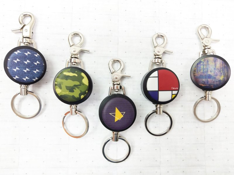 i good slip ring keychain series - a series of strokes (five) geometric painting camouflage cowboy stars
