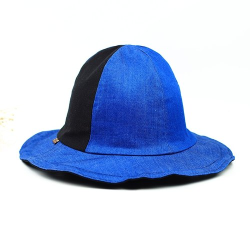 Small calf village Calf Village original small volcanic cap men and women gentleman hat double-sided handmade cap bent big hat along the low-key wild tie {tide tide hat} tannin blue / black [H-287]