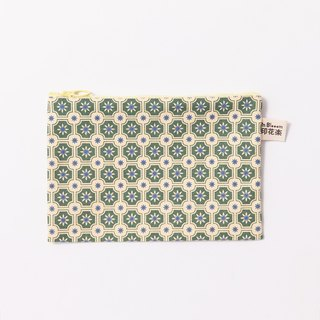 Zipper Flat Pouch / Old Ceramic Tile No.2 / Yellow & Green