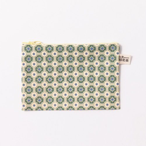 Zipper stationery bag / old tile 2 / m yellow gray green