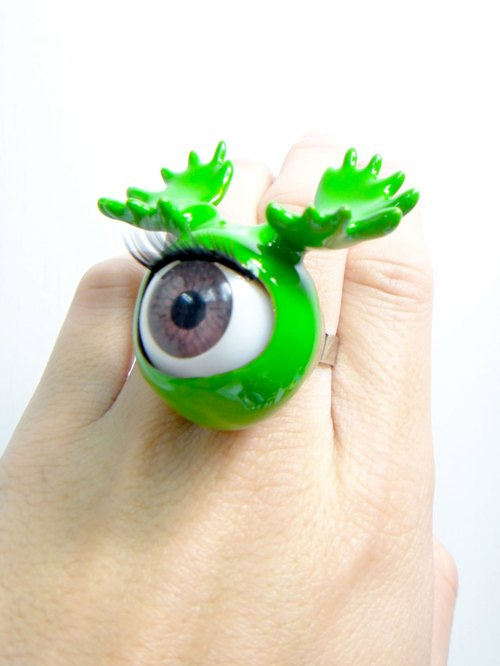 TIMBEE LO green eyes antlers Ring Antlers Eyeball with Green Epoxy Ring
