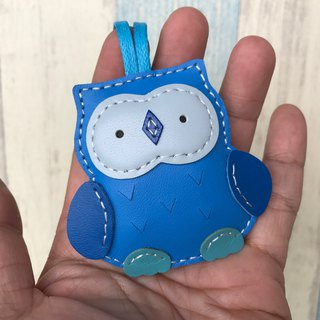 25% off Blue Cute Owl Handmade Sewn Leather Charm Small Size