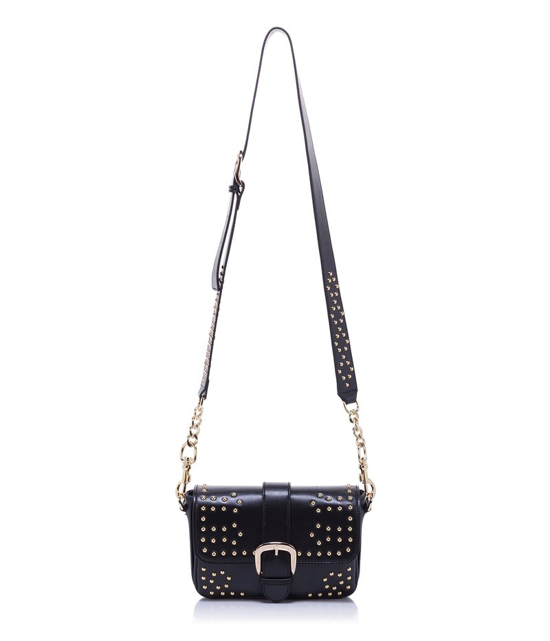 Leather Studded Crossbody—Black
