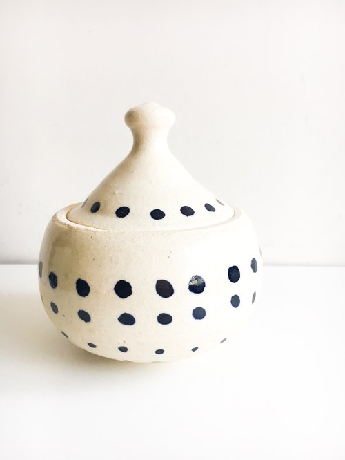 Beige Polka Dot ceramic pyramid small container with a lid