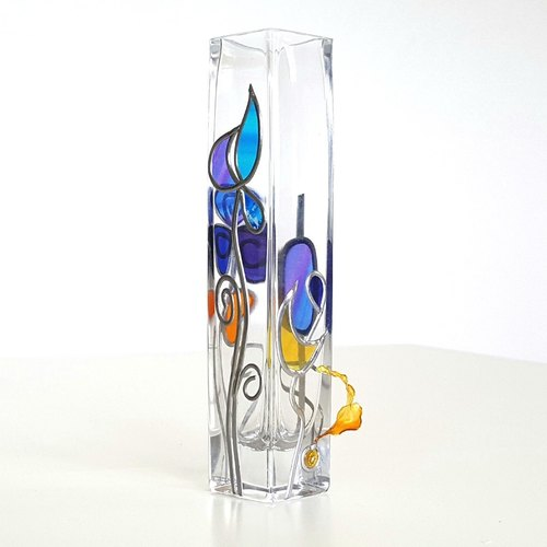 Glass Art Square Vase TinkerBell Cool