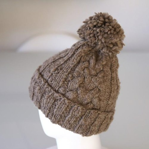 [Order production] adult hand spun knit hat: Light Brown