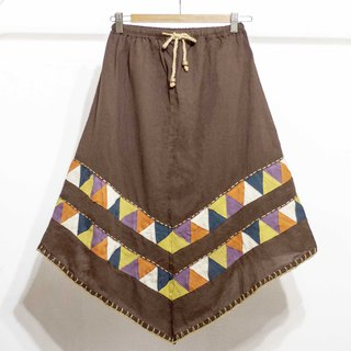 Cotton and linen embroidered skirt / ethnic skirt / color cotton skirt skirt / handmade patchwork skirt - coffee triangle hill