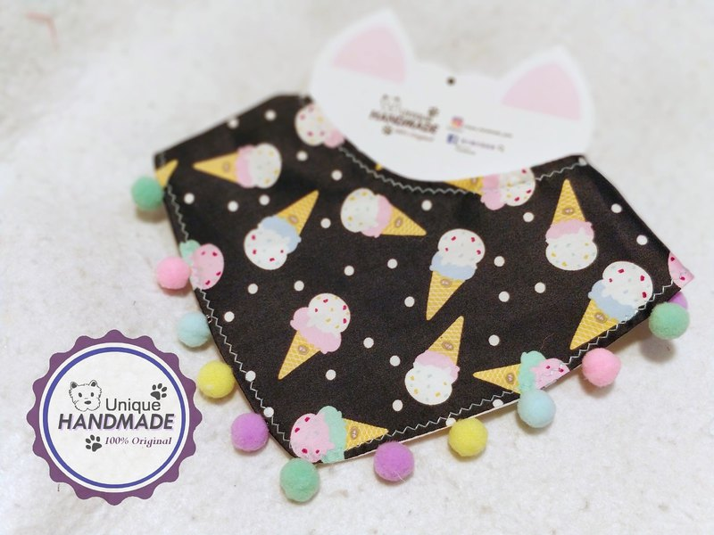 Cool ice cream ice cream pattern personality pet scarf / neck ornaments