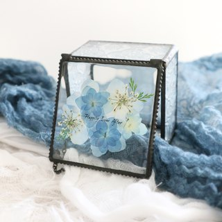Pressed flower with Handwriting Accessory Jewelry Glass Box