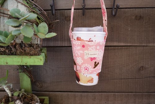 Pink lace cat coffee cup bag