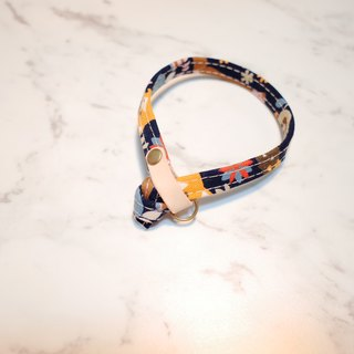 Cat collar, Fox & trees, blue_CCJ090105