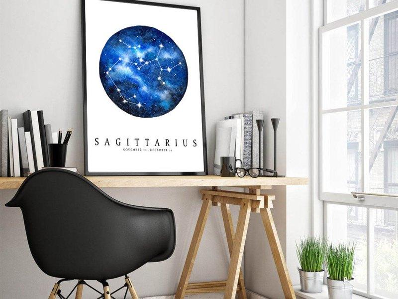 【射手座】十二星座複製畫   水彩藝術畫報   繁星夜空簡約裝飾畫