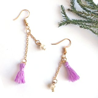 Handmade Tassel Earrings Earclips Rose Gold Series-purple limited