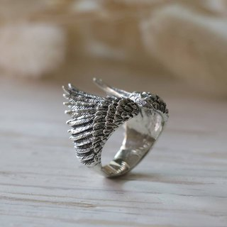 Angel Wings Bird Ring sterling silver Celtic tattoos gift Jewelry Boho Owl 925