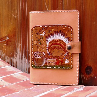 Hand-made leather notebook/hand book clothing - small chief and mountain pig