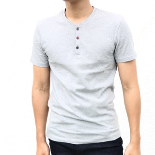 RT05 Cat Eye Button Henry Collar Short Sleeve Tshirt - Grey