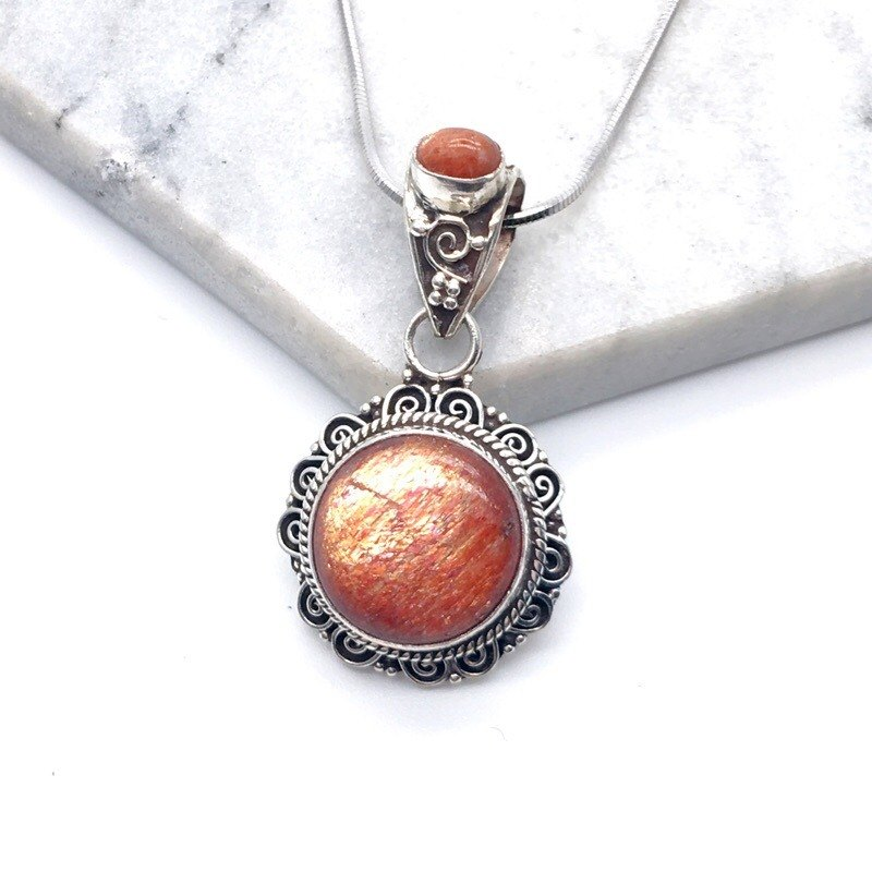 Sun stone sun stone 925 sterling silver double gem design necklace Nepal hand mosaic production