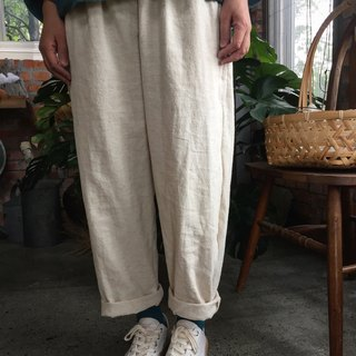 Cotton and metal folding tube pants white rice