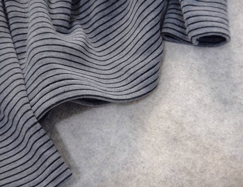 Hand made gray line striped shirt