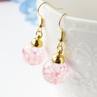 * Rosy Garden * pink crystals water inside glass ball earrings