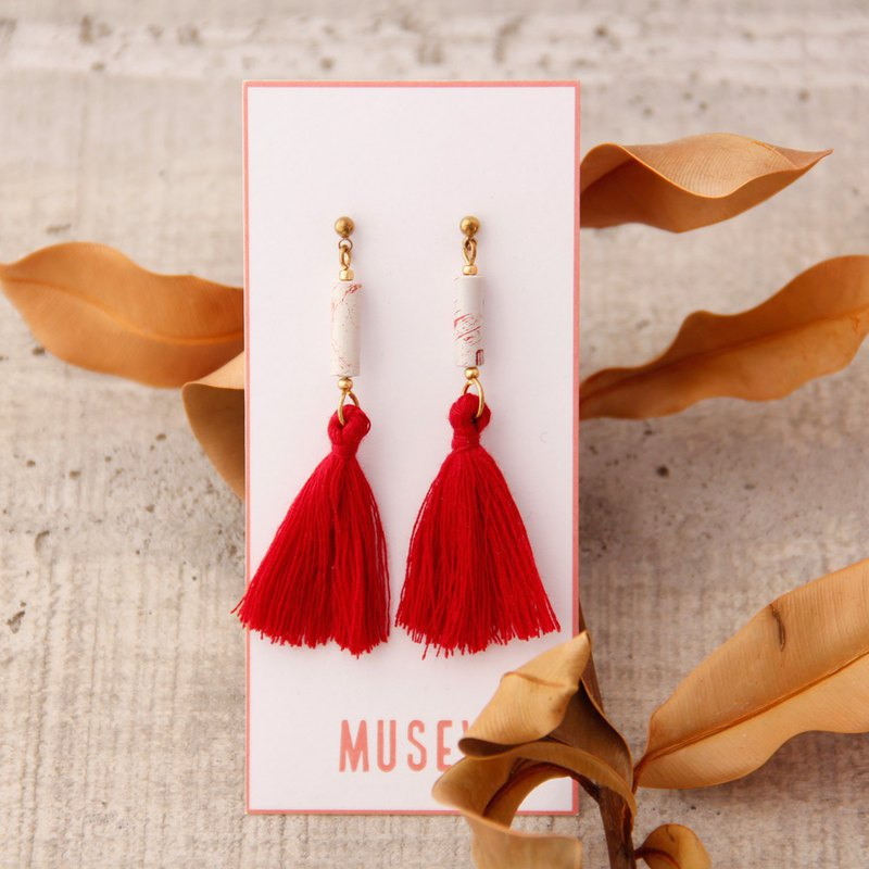Ethnic style tassel earrings - red and white pattern