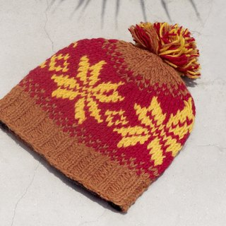 Christmas tree set limited to a hand-woven pure wool hat / knitted hat / within the bristles hand knitted hair hat / wool cap (made in nepal) - sunshine feeling Nordic snowflake national totem