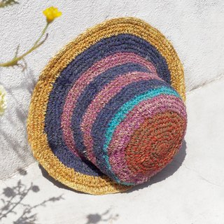 Limited edition handmade knitted cotton hood / weaving hat / fisherman hat / sun hat / straw hat - mango + blueberry ice cream striped handmade hat