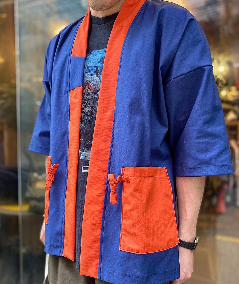 藍紅拼色短袖Kimono Jacket