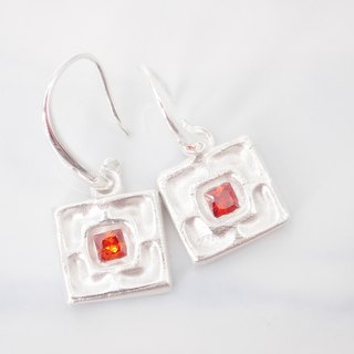 E11041 Ceramic Tile Silver 999 & 925 Earrings