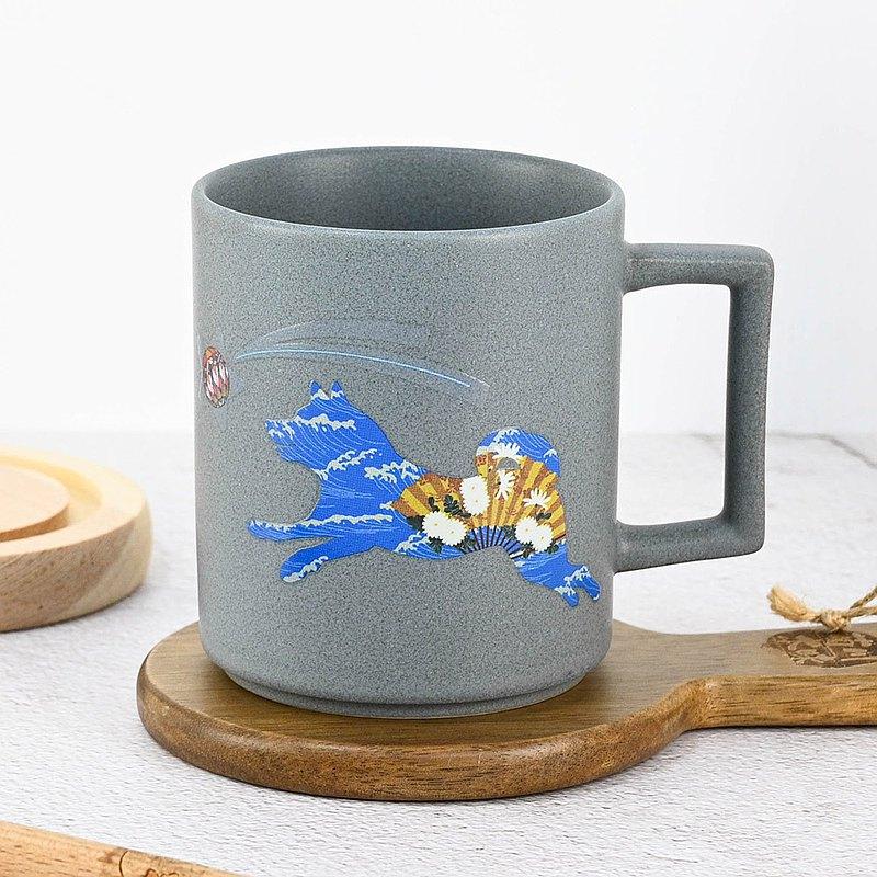 日本原裝 溫感小狗變色馬克杯 柴犬(藍灰) 聖誕禮物 交換禮物