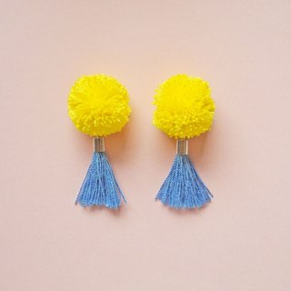 Handmade Earrings with tassel. handmade jewelry. yarn pompom