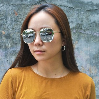 Sunglasses Polarized│Rectangular Round│Silver Lens│UV400 Protection│2is RenS