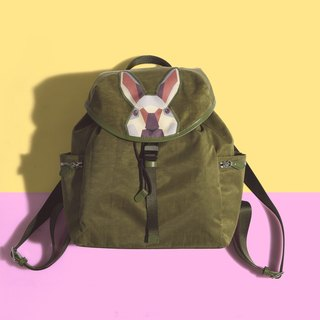 Khieng Atelier Diamond Rabbit Rabbit diamond flip cover Backpack - Olive