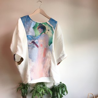 Monet painting linen top