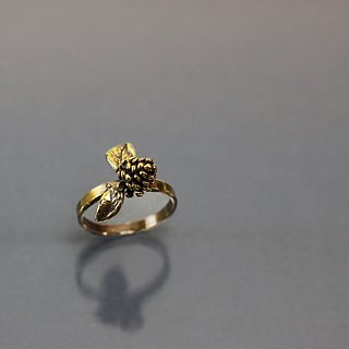 Small fruit leaf brass ring