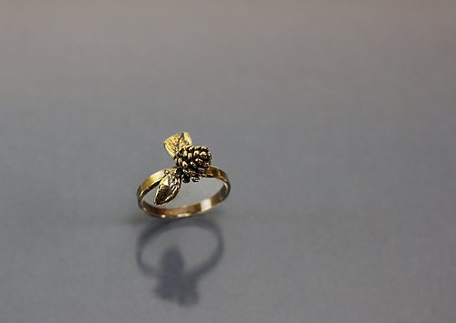 Small fruit leaves brass ring
